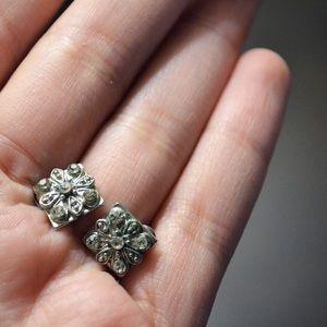 """""""Crystal Rhodium"""" Square Flower Stud Earrings"""